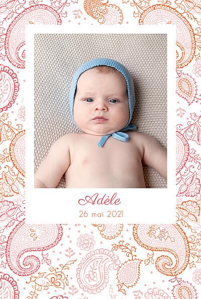 Faire-part de naissance Paisley portrait rose & orange finition