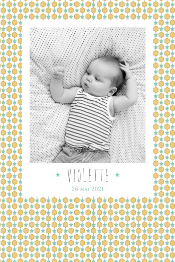 Faire-part de naissance Capri portrait photo moutarde