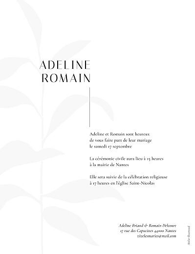 Faire-part de mariage Ikebana portrait (dorure) bleu - Page 2