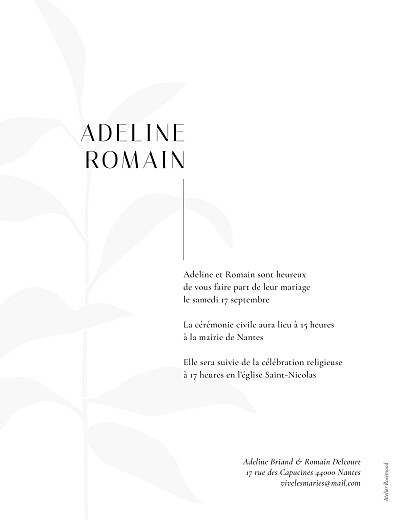 Faire-part de mariage Ikebana portrait (dorure) blanc - Page 2