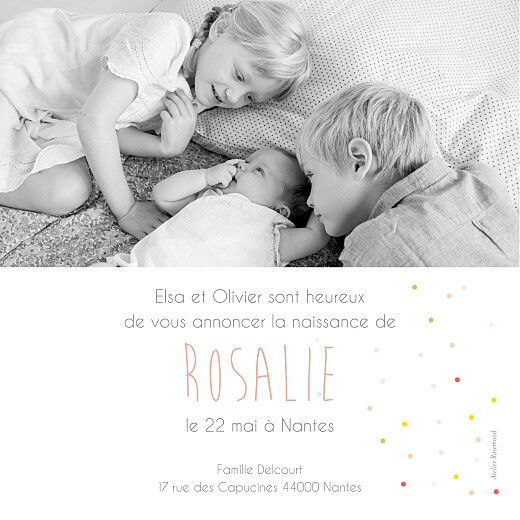 Faire-part de naissance Lovely girl photo (carré) blanc - Page 2