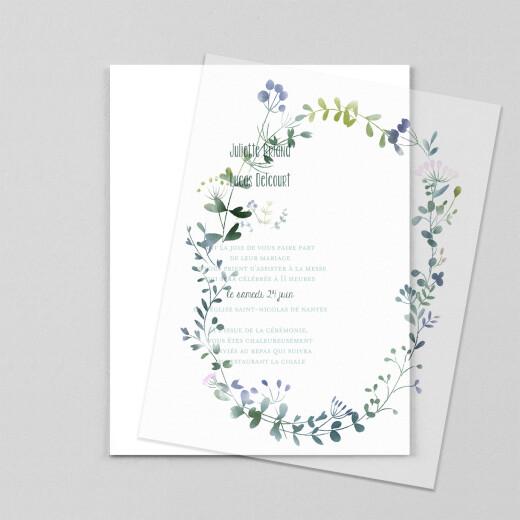 Faire-part de mariage Bouquet sauvage (calque) bleu - Vue 1