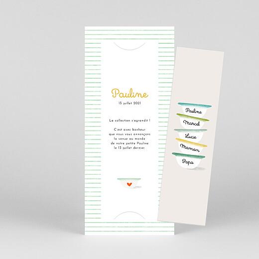 Faire-part de naissance Petits bols (marque-page) (3 enfants) vert - Vue 1