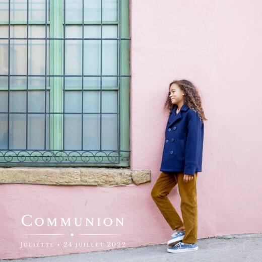 Faire-part de communion Joli détail blanc