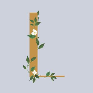Faire-part de naissance Lettres fleuries (triptyque) jaune et bleu