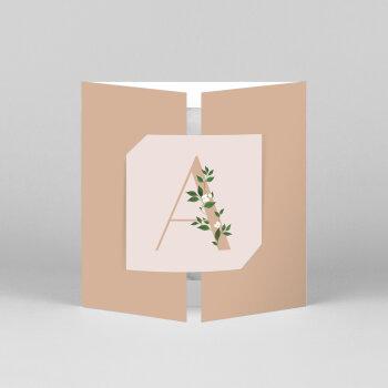 Faire-part de naissance Lettres fleuries (fenêtre) rose