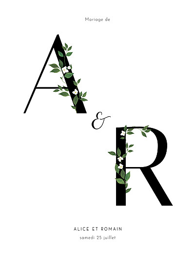 Faire-part de mariage Lettres fleuries (portrait) blanc finition