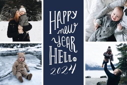 Carte de voeux Welcome new year bleu marine