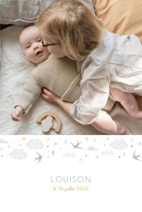 Faire-part de naissance Nuage de lait (portrait) bleu
