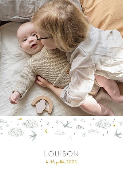 Faire-part de naissance Nuage de lait (portrait) bleu finition