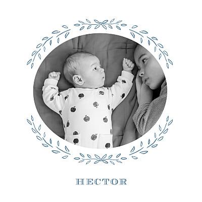 Faire-part de naissance Poème photo bleu gris finition