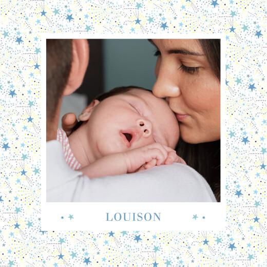 Faire-part de naissance Liberty étoiles photos 4 pages bleu