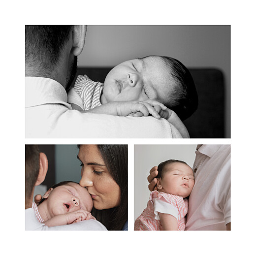Faire-part de naissance Pivoines 3 photos rouge - Page 2