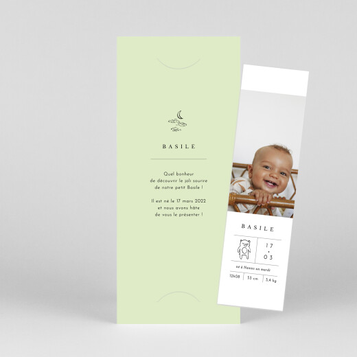 Faire-part de naissance Étiquette illustrée (marque-page) vert - Vue 1