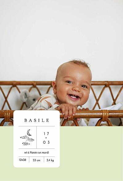 Faire-part de naissance Étiquette illustrée vert finition