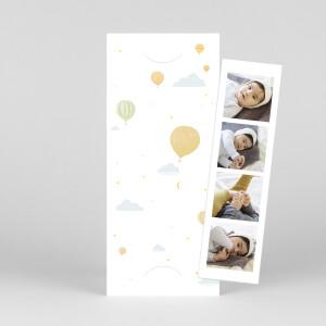 Faire-part de naissance Petites montgolfières (marque-page) jaune