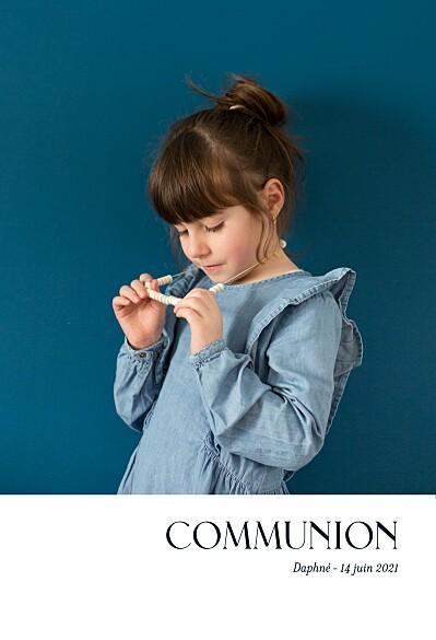 Faire-part de communion Simplement bleu marine finition
