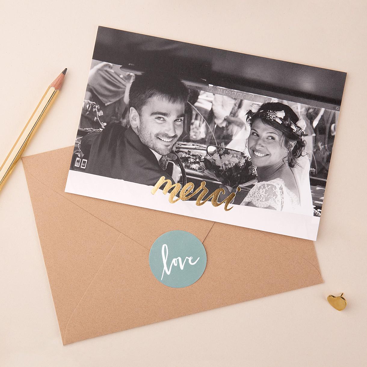 Carte de remerciement mariage lettres d'amour (dorure)