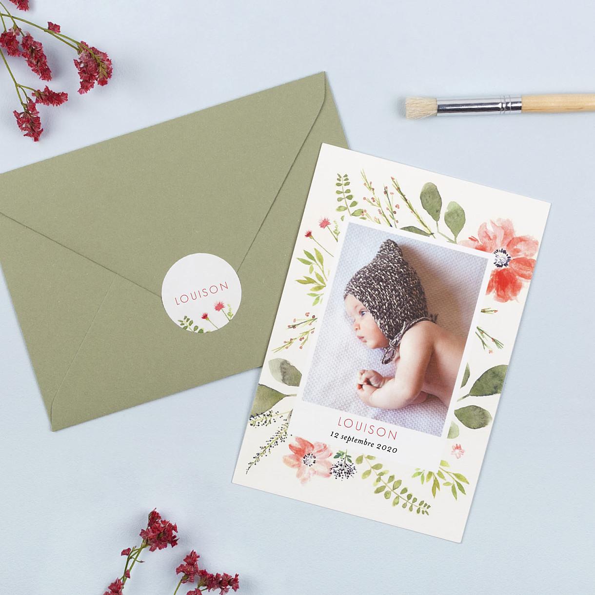 Stickers pour enveloppes naissance fleurs aquarelle