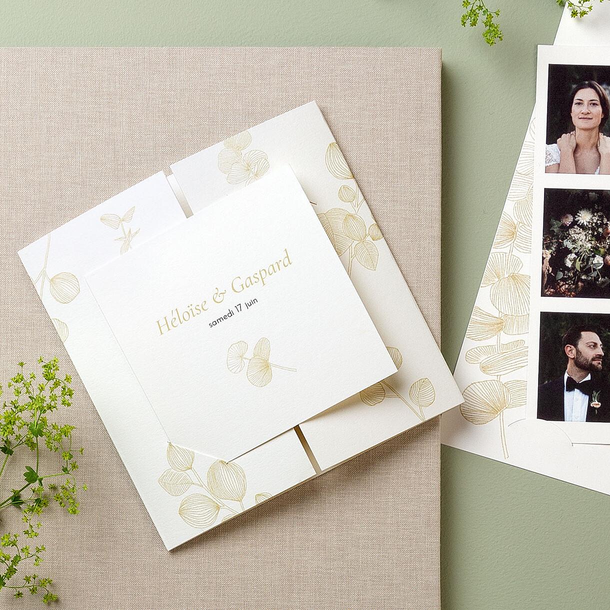 Faire-part de mariage envolée d'eucalyptus